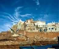 I pescherecci su un oceano costeggiano in Essaouira immagine stock libera da diritti