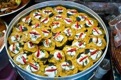 I pesci cotti a vapore con l'inserimento del curry Immagine Stock Libera da Diritti