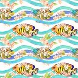 I pesci tropicali in primavera fiorisce in onde, bande Ripetizione della priorità bassa watercolor illustrazione vettoriale