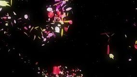 I petali variopinti stanno cadendo Priorit? bassa del fiore della sorgente Petali abbastanza brillanti dei fiori illustrazione di stock
