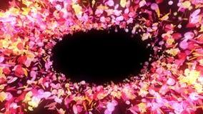 I petali variopinti stanno cadendo Priorit? bassa del fiore della sorgente Animazione del ciclo Petali abbastanza brillanti dei f illustrazione vettoriale