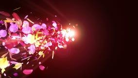 I petali variopinti stanno cadendo Priorit? bassa del fiore della sorgente Animazione del ciclo Petali abbastanza brillanti dei f illustrazione di stock