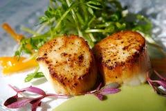I pettini seared gastronomici con guarnisce Fotografia Stock Libera da Diritti