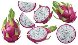 I pezzi della frutta o di pitaya del drago hanno messo isolato su bianco Fotografia Stock