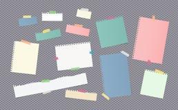 I pezzi di nota variopinta di dimensione differente, taccuino, strati di carta del quaderno hanno attaccato con nastro adesivo ap illustrazione di stock