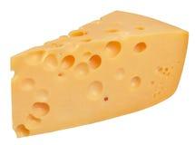 I pezzi perfetti di formaggio svizzero isolati su fondo bianco Fotografia Stock Libera da Diritti