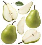 I pezzi verdi della pera hanno messo la raccolta isolata su bianco Fotografia Stock Libera da Diritti