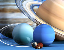 I pianeti del sistema solare su un aereo blu. Fotografia Stock Libera da Diritti