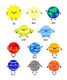 I pianeti svegli del sistema solare del fumetto vector la o isolata illustrazione illustrazione vettoriale