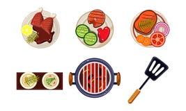 I piatti di pesce e della carne hanno cucinato sulla griglia, l'alimento sano saporito, illustrazione di vettore di vista superio illustrazione vettoriale