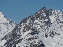 I picchi di montagna alpini in Europa nell'inverno nevicano immagine stock libera da diritti