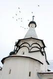 I piccioni vola sopra la chiesa di Uspenskay. Suzdal. Fotografia Stock