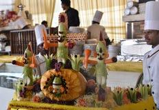 I piccoli effigii hanno composto delle verdure di re Ravana, suo figlio Megnath ed il fratello Kumbhkarana Fotografie Stock Libere da Diritti