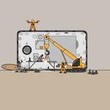 I piccoli meccanici riparano il mio telefono cellulare illustrazione vettoriale
