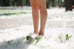 I piedi femminili su erba coperta di pioppo fluff Immagine Stock