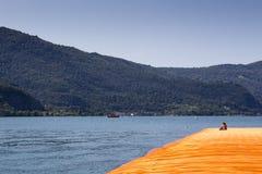 I pilastri di galleggiamento: ragazza che guarda il panorama e il installa Immagini Stock
