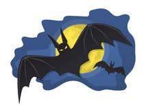 I pipistrelli che volano nel cielo notturno con la luna piena Immagini Stock Libere da Diritti