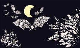 I pipistrelli color crema erano volo illustrazione di stock