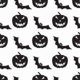 I pipistrelli monocromatici ed il modello senza cuciture delle zucche vector l'illustrazione Fotografia Stock