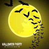 I pipistrelli sorvolano la luna Fotografia Stock