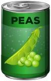 I piselli nel verde possono illustrazione di stock