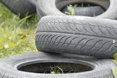 I pneumatici residui hanno fatto uscire in pascolo. Immagine Stock Libera da Diritti