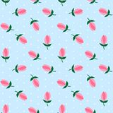 I pois bianchi su fondo blu-chiaro fioriscono il mare rosa dei tulipani illustrazione vettoriale