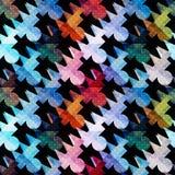I poligoni colorati psichedelici sottraggono il modello geometrico senza cuciture su un fondo nero illustrazione vettoriale