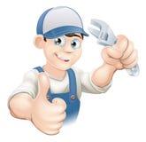 I pollici aumentano l'idraulico con la chiave Fotografie Stock