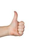 I pollici aumentano la mano maschio su bianco Immagini Stock
