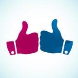 I pollici aumentano le icone di gesto Immagini Stock Libere da Diritti