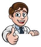 I pollici aumentano lo scienziato Cartoon Character Sign Immagine Stock Libera da Diritti