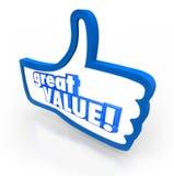 I pollici blu di grande valore aumentano la raccomandazione di esame di simbolo Fotografie Stock