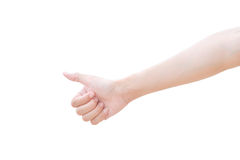 I pollici della mano del primo piano aumentano il segno Fotografia Stock