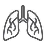 I polmoni allineano l'icona, la biologia ed il corpo, segno dell'organo, grafica vettoriale, un modello lineare su un fondo bianc royalty illustrazione gratis