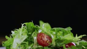 I pomodori affettati cadono giù sui verdi stock footage