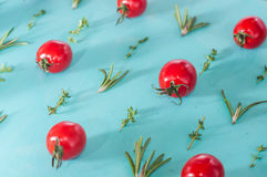 I pomodori ciliegia modellano con i rosmarini ed il timo Fotografie Stock Libere da Diritti