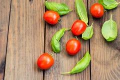 I pomodori con basilico va su un fondo di legno Vista superiore Fotografia Stock Libera da Diritti