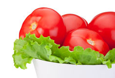 I pomodori del primo piano con insalata verde coprono di foglie in ciotola Fotografia Stock Libera da Diritti