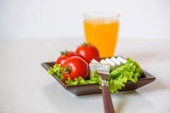 I pomodori e le fette del formaggio si trovano su uno strato di insalata fresca in un piatto Immagini Stock Libere da Diritti