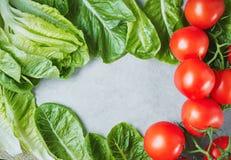I pomodori maturi freschi su lattuga va sulla tavola Immagini Stock Libere da Diritti