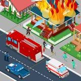 I pompieri estinguono un fuoco nella città isometrica della Camera Gli aiuti del vigile del fuoco hanno danneggiato la donna illustrazione di stock