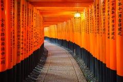 I portoni di Torii in Fushimi Inari shrine, Kyoto, Giappone Immagini Stock Libere da Diritti
