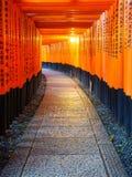 I portoni di Torii in Fushimi Inari shrine, Kyoto, Giappone Fotografia Stock Libera da Diritti