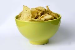 I potatis di Stekt, fflade del ½ del ¿ del rï scheggia il bakgrund del vit dell'en del ½ del ¿ del pï Fotografie Stock