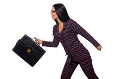 I precedenti bianchi isolati concetto della donna di affari della donna Fotografia Stock Libera da Diritti