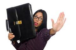 I precedenti bianchi isolati concetto della donna di affari della donna Immagine Stock