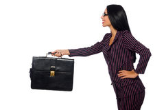 I precedenti bianchi isolati concetto della donna di affari della donna Fotografia Stock