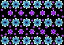 I precedenti dai fiori blu sul nero Immagine Stock Libera da Diritti