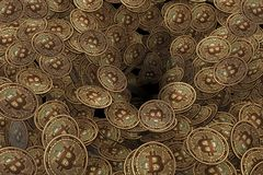I precedenti fatti dei molti bitcoin di cryptocurrency - rappresentazione 3d Immagine Stock